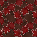 Seamless leaves pattern on polka dot Royalty Free Stock Photo