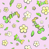 Seamless leaves and spring flowers pattern Stock Photo