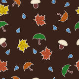 Seamless with leaves, umbrellas, mushrooms and wat Royalty Free Stock Photo