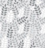 Seamless leaves wallpaper in silver Stock Photo