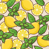 Seamless lemon and peppermint Royalty Free Stock Image
