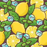 Seamless lemon and peppermint Royalty Free Stock Photo
