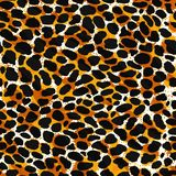 Seamless leopard, ocelot or wild cat fur pattern print. Animal skin stylized vector background royalty free illustration