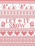 Seamless Let it Snow Scandinavian fabric style, inspired by Norwegian Christmas, festive winter pattern in cross stitch Stock Photography