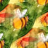 Seamless light bee, green, yellow watercolor artist wallpaper mo Royalty Free Stock Photo
