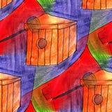 Seamless light birdhouse, red, blue watercolor artist wallpaper Stock Photos