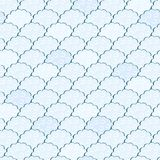 Seamless Light Blue and White Fluffy Cloud Pattern Royalty Free Stock Photo