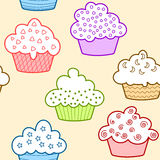 Seamless light colored cupcakes. Cupcakes with white topping and light colors Royalty Free Stock Photos