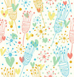 Seamless light floral pattern  Cute background with flowers  Decorative doodle texture for prints, textile, crafts, wallpapers. Covers Royalty Free Stock Photography