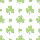Seamless Light Green Shamrocks. A seamless pattern of alternating shamrocks in a light green color with no background Royalty Free Stock Images