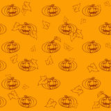 Seamless light halloween pattern with pumpkins and leaves Royalty Free Stock Image