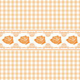 Seamless light orange checkered background with stylized roses Royalty Free Stock Photos