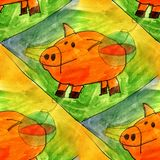 Seamless light pig, yellow, green watercolor artist wallpaper mo Stock Image