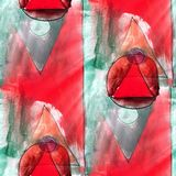 Seamless light red, green watercolor artist wallpaper modern tex Royalty Free Stock Image