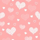 Seamless light red pattern with hearts. For textiles, interior design, for book design, website background Stock Image