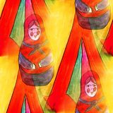Seamless light Russian doll, matryoshka watercolor artist wallpa Stock Photos