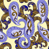 Seamless lilac paisley with a grungy blue brown decor Stock Photos