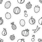 Seamless Line art fruit icons set flat design   transparent background vector illustration. Seamless Line art fruit icons set flat line art transparent Royalty Free Stock Photo