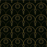 Seamless line-art geometrical pattern in gold and black. Seamless pattern background with simple geometrical design, golden arks and circles Royalty Free Stock Photography