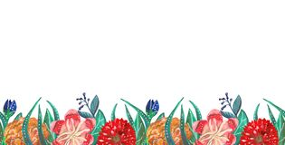 Seamless line of bright tropical and mexican gouache flowers royalty free illustration