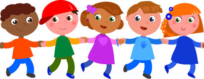 Seamless line of children vector Royalty Free Stock Photos