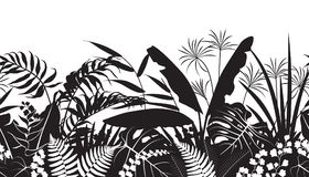 Tropical Silhouette Pattern. Seamless line horizontal pattern made with tropical plants silhouette. Black and white floral texture with flowers and leaves in row Stock Images