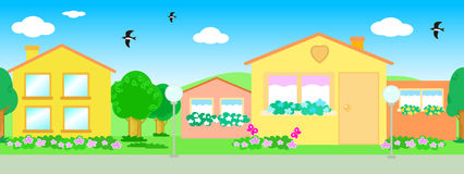 Seamless line of houses vector Stock Photos