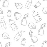 Seamless line kitchen elements pattern Royalty Free Stock Images