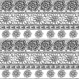 Seamless line ornament from flower doodles in zen ethnic style Royalty Free Stock Image