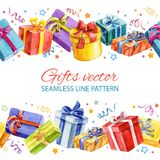 Seamless line pattern with Christmas and New Year gifts. watercolor. Stock Photo