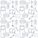 Seamless line pattern with drums. Flat design. Vector Royalty Free Stock Photo