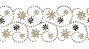 Seamless line pattern fom beads and snowflakes for Christmas dec Royalty Free Stock Photos