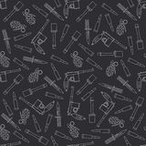 Seamless line pattern with military equipment icons. Vector illustration. Elements for design. Ww2 army weapons Stock Photo