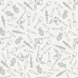 Seamless line pattern with military equipment icons. Vector illustration. Elements for design. Ww2 army weapons Royalty Free Stock Photo