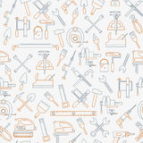 Seamless line pattern with working tools for construction, building and home repair icons. Vector illustration. Elements vector illustration