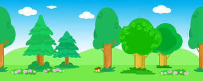 Seamless line of trees vector Royalty Free Stock Photo