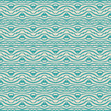 Seamless linear pattern, vintage fabric. Hand drawn folk ethnic ornament, with thick lines and smooth waves, seamless pattern, spring fashion, vector background Royalty Free Stock Images