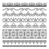 Seamless lines, set of simple border ornaments Stock Photos