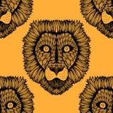 Seamless lion background Stock Photo
