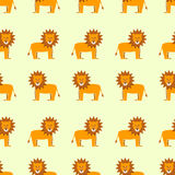 Seamless lions pattern. Lions on beige background. Wallpaper, textile stock illustration
