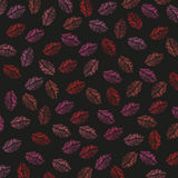 Seamless lips, kiss print illustration pattern Royalty Free Stock Images
