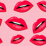 Seamless lips pattern over pink Stock Photo