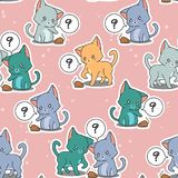 Seamless little cats are playing baby mousy pattern. stock illustration