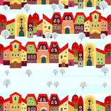 Seamless with little town in winter Royalty Free Stock Photo