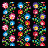 Seamless long Polish folk art pattern - wzory lowickie, wycinanka Royalty Free Stock Photography