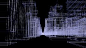 Seamless loop abstract hologram 3D city concept rendering with futuristic white and blue matrix. Digital buildings with