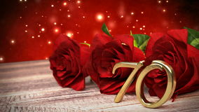 Seamless loop birthday background with red roses on wooden desk. seventieth birthday. 70th. 3D render. Seamless loop birthday concept with red roses on wooden