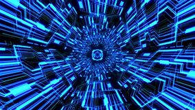 Seamless loop 3D digital circuit tunnel with abstract tech circles background blue color