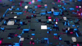 Seamless loop: 3d Digital technology concept. Black cubes with red and blue segments symbolize data block.