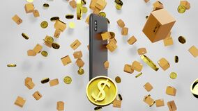 Seamless Loop 3D render E-commerce Smartphone, Parcels, and Golden Coins Falling down with Shopping cart Abstract Digital Display